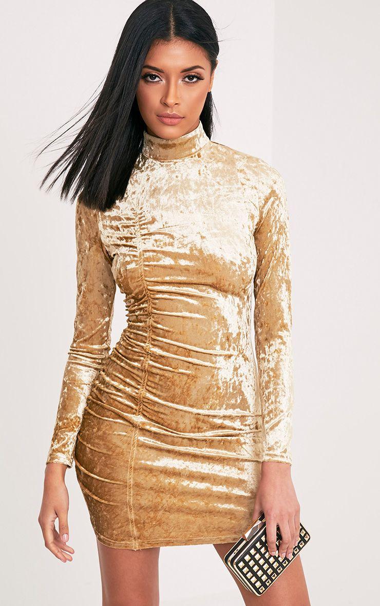Lilli Champagne Crushed Velvet High Neck Bodycon Dress