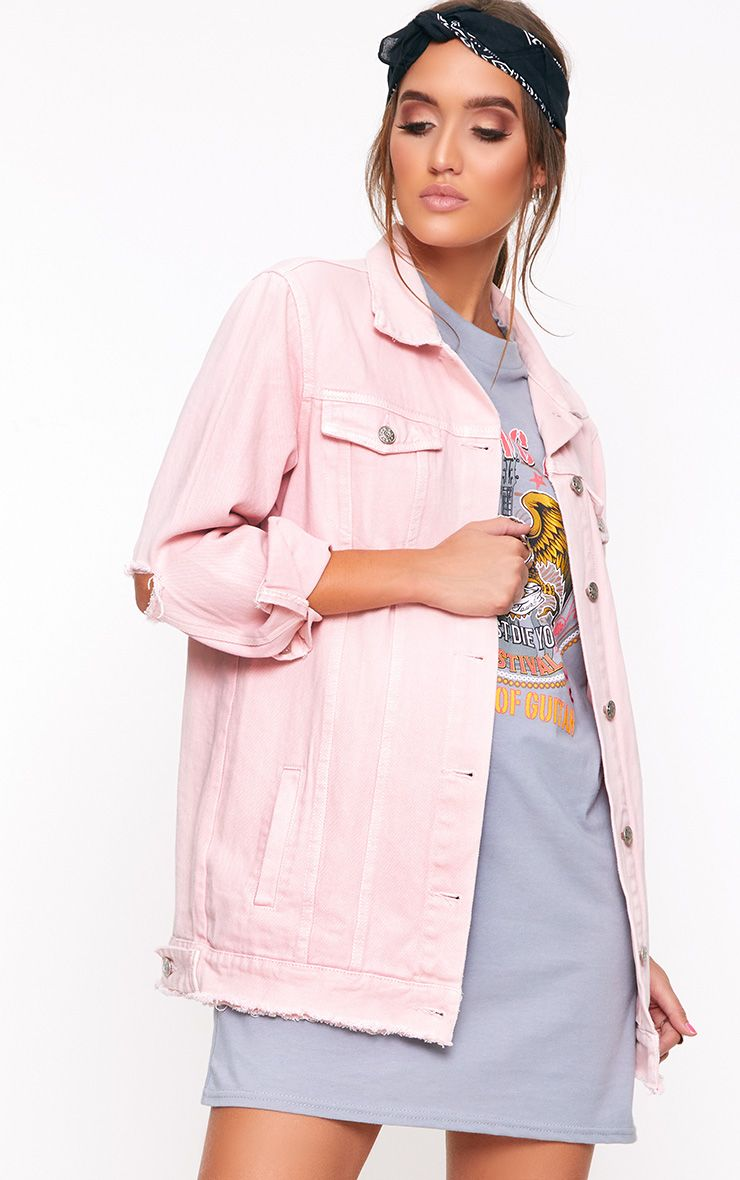 Light Pink Elbow Rip Denim Jacket