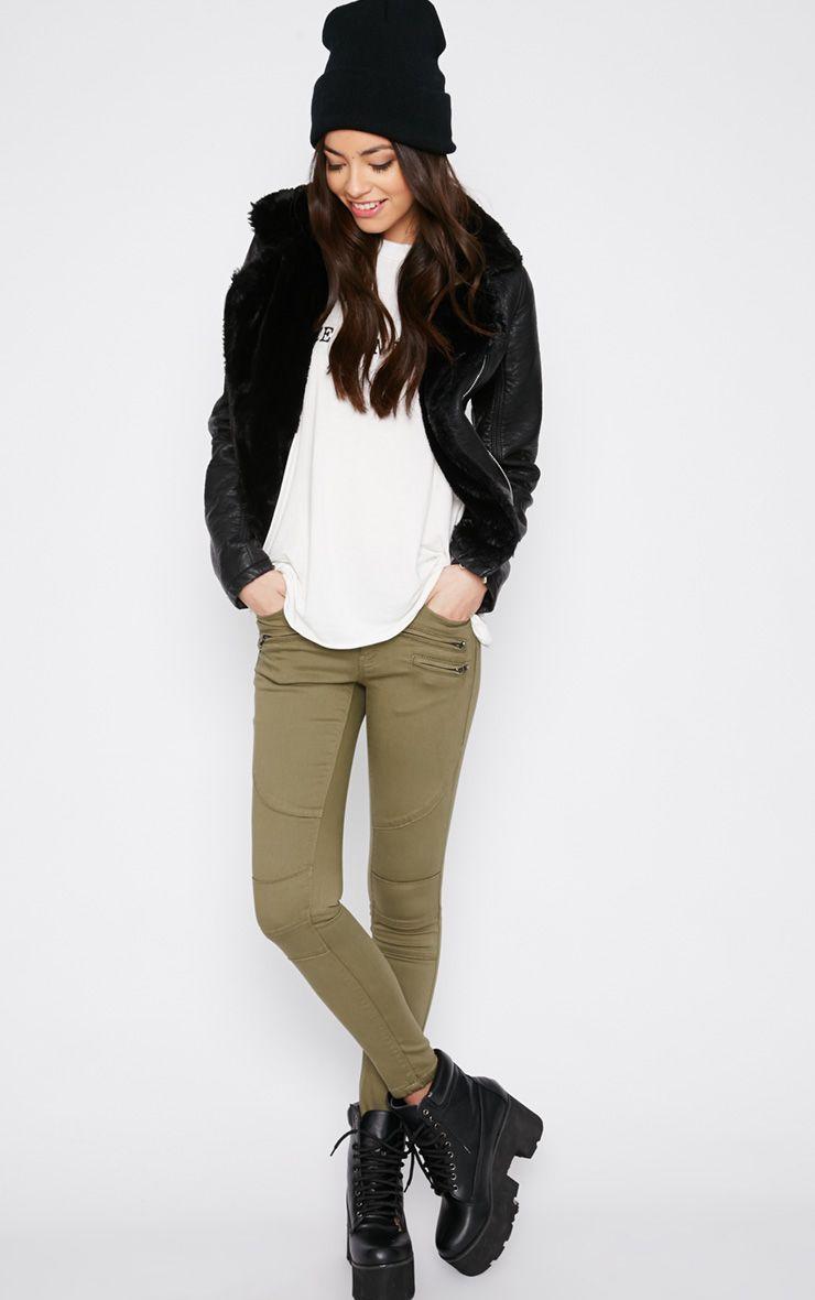 Perrine Khaki Zip Pocket Skinny Jean  1