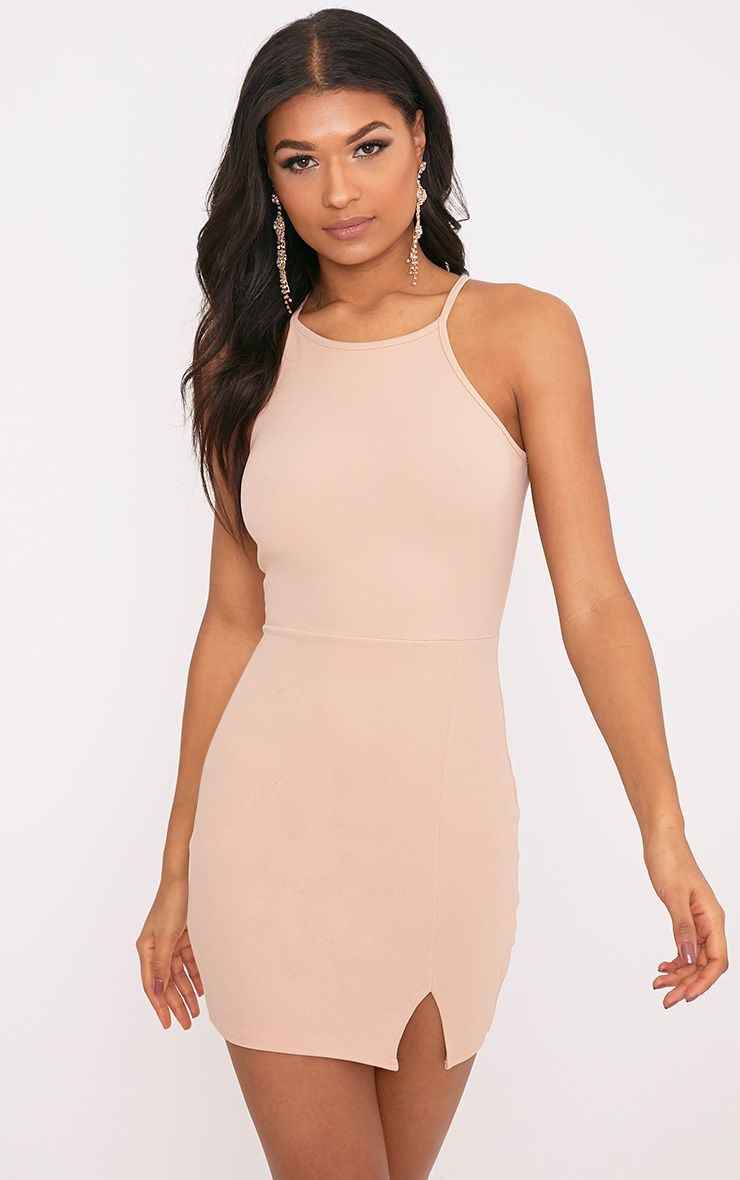 Aniqah Nude  High Neck Split Detail Bodycon Dress 1
