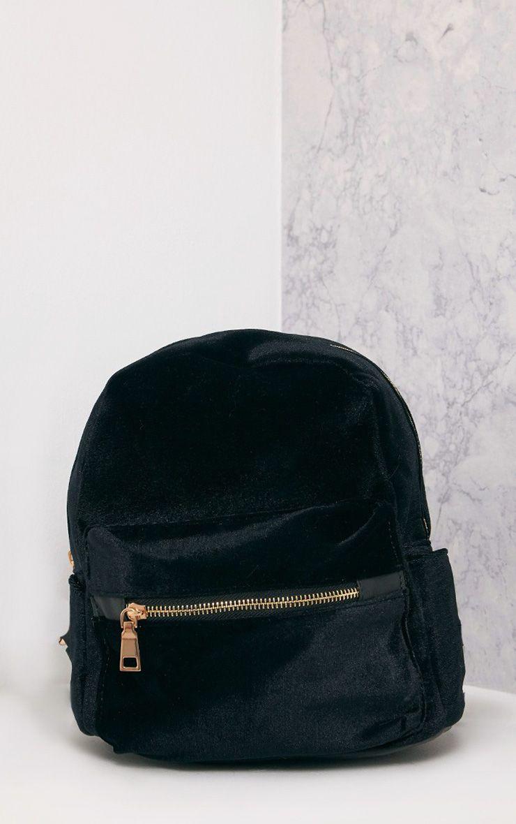 Jayci Black Velvet Backpack
