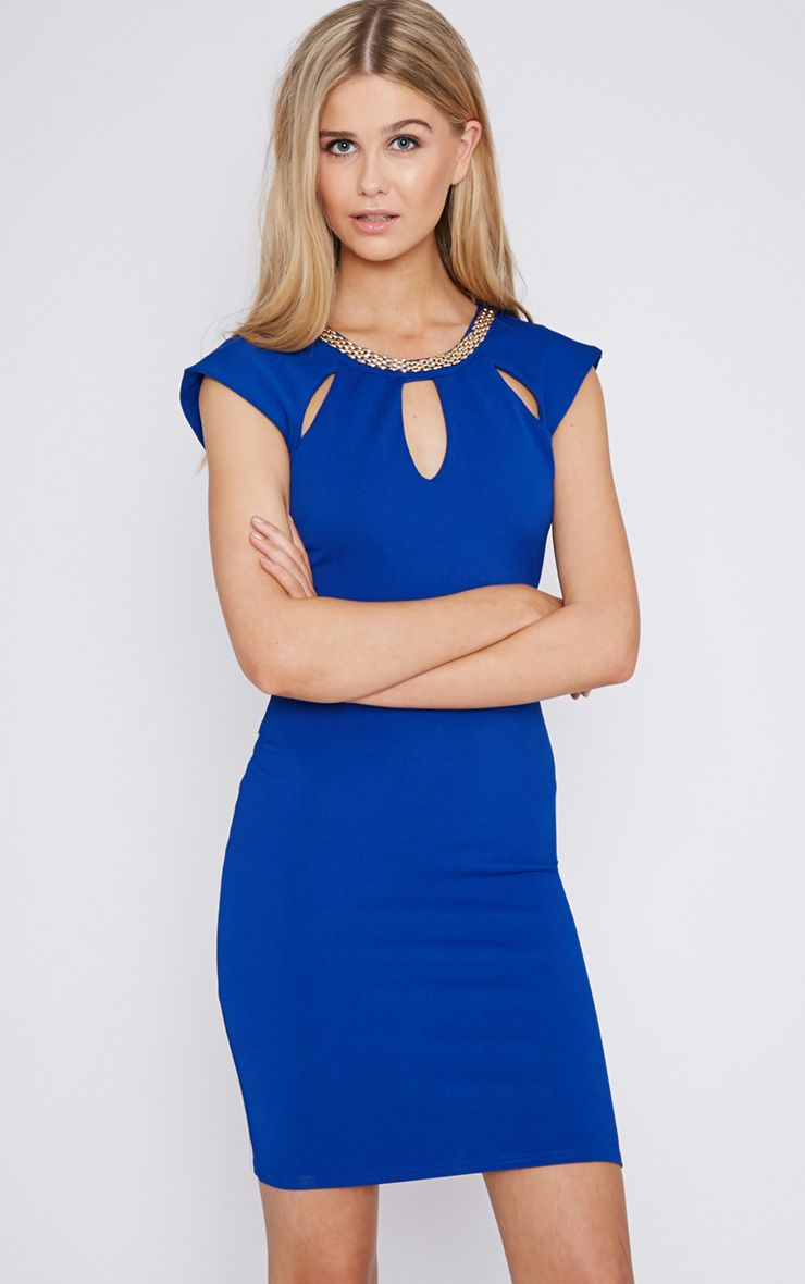 Helina Cobalt Embellished Neck Dress 1