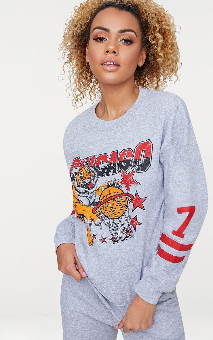 Grey Chicago Slogan Oversized Sweater
