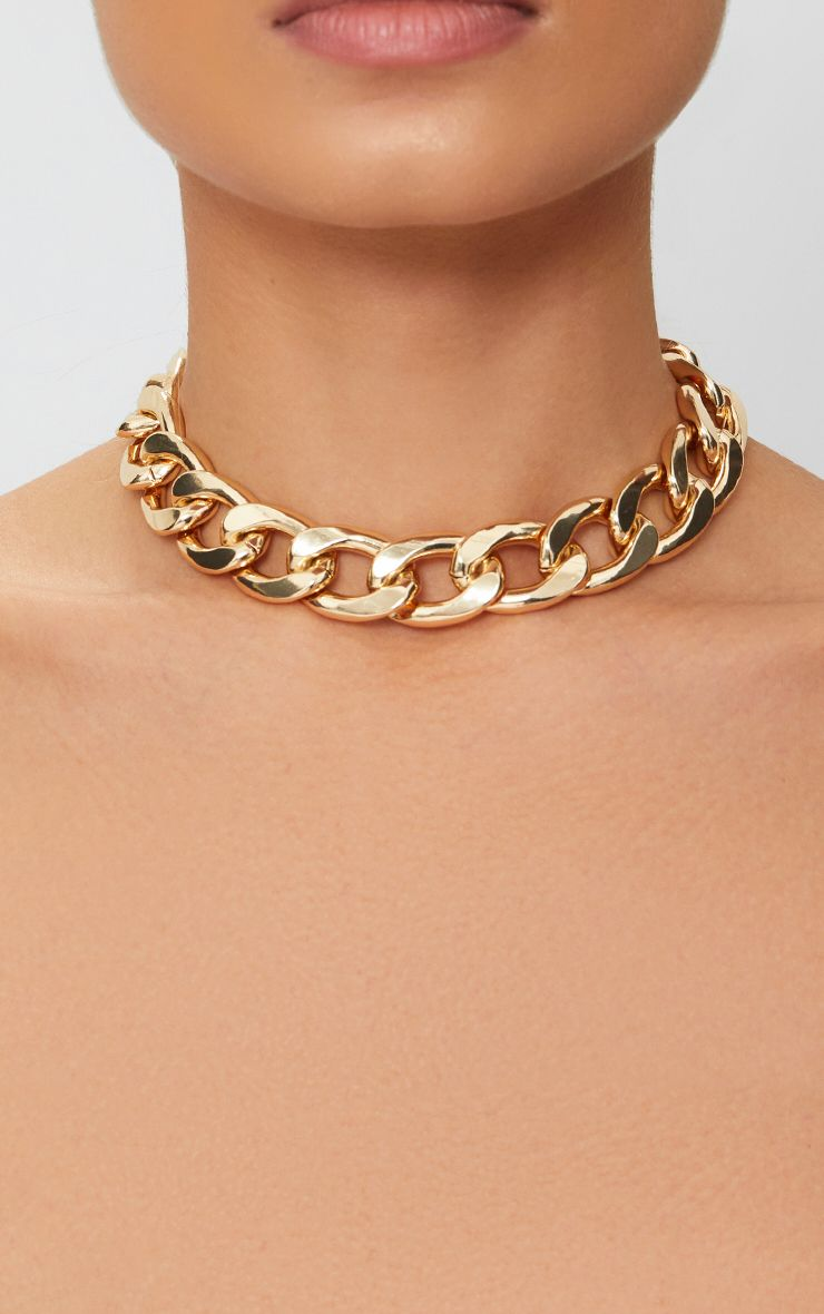 Gold Chunky Chain Choker 1