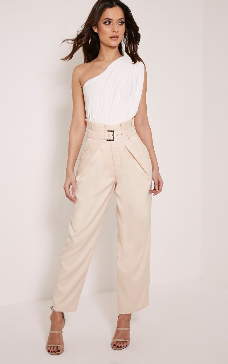 Irene Beige High Waisted Belted Wide Leg Trousers 1