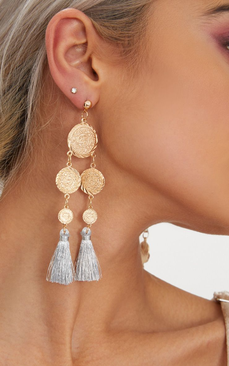 Silver Coin Drop Tassel Earrings 1