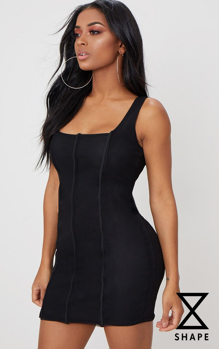 Shape Black Mesh Panelled Square Neck Bodycon Dress