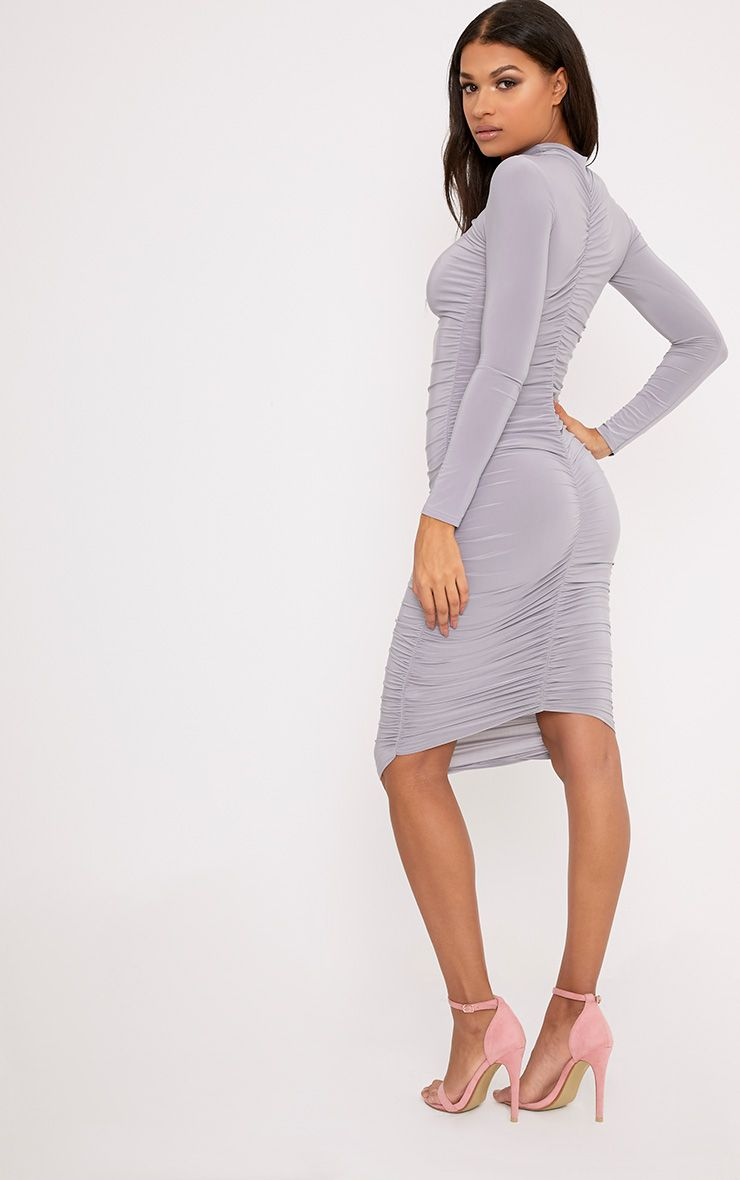 Niyah Ice Grey Slinky Ruched Midi Dress