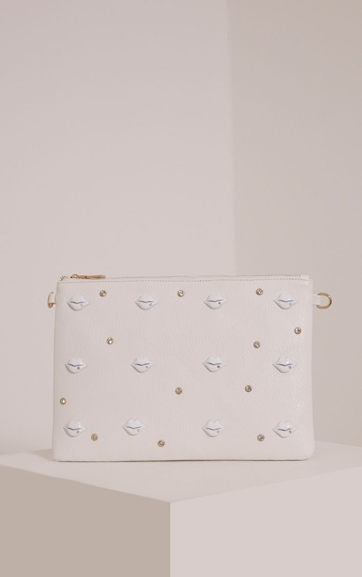 Chanelle White PU Lip Studded Clutch Bag 1