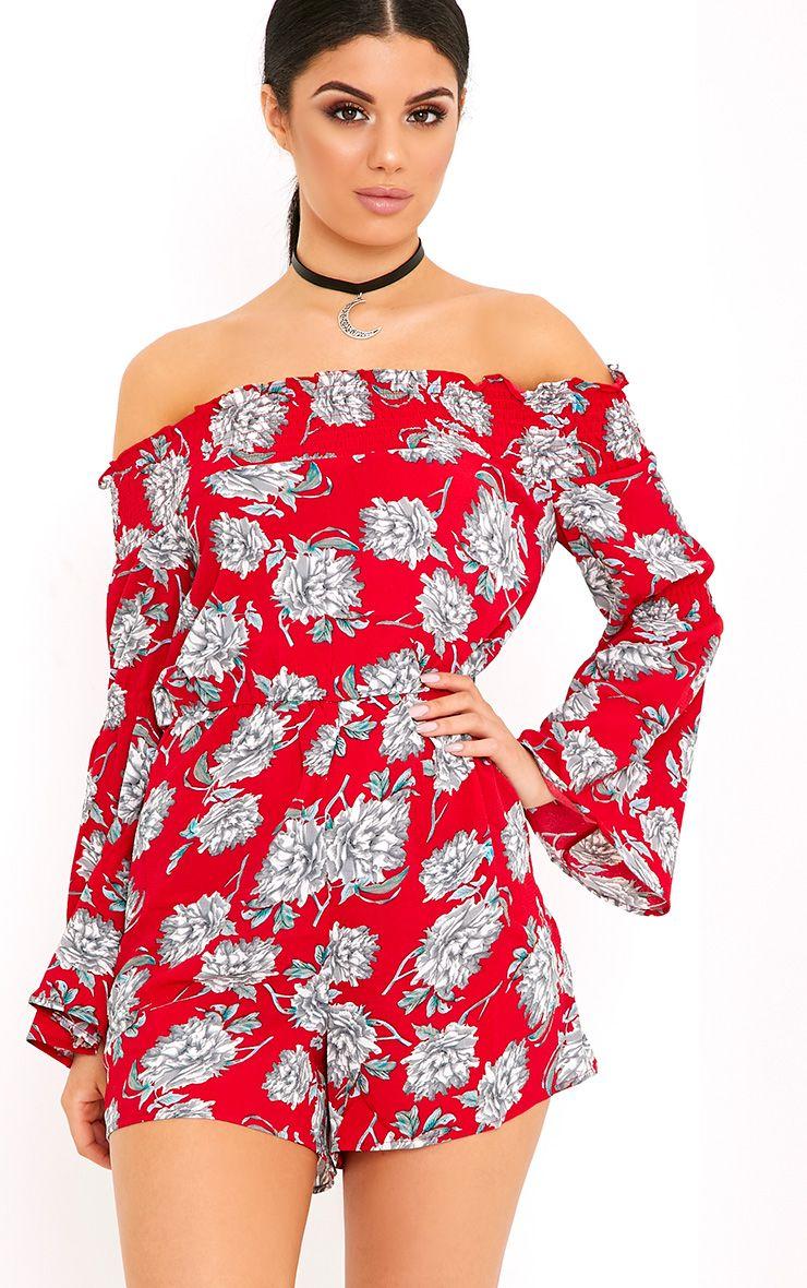 Red Floral Bardot Romper 1