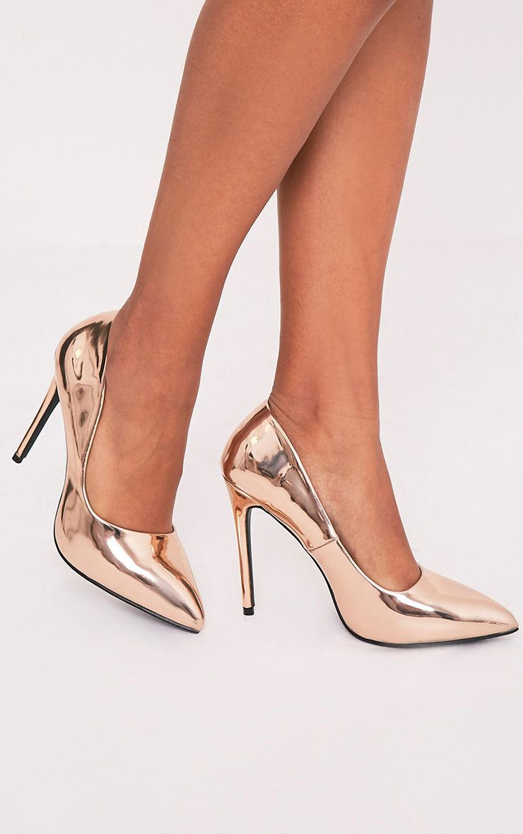 Deena Rose Gold Metallic Patent Court Shoes 1
