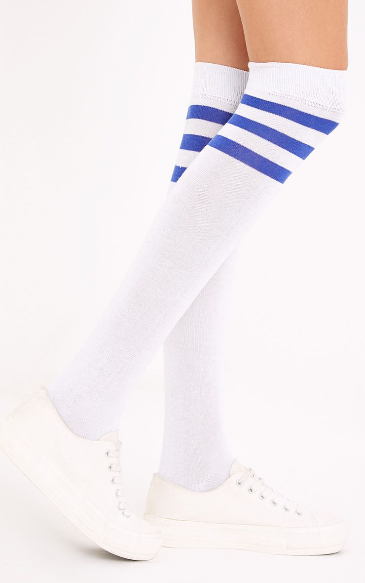 White & Blue Striped Over The Knee Socks