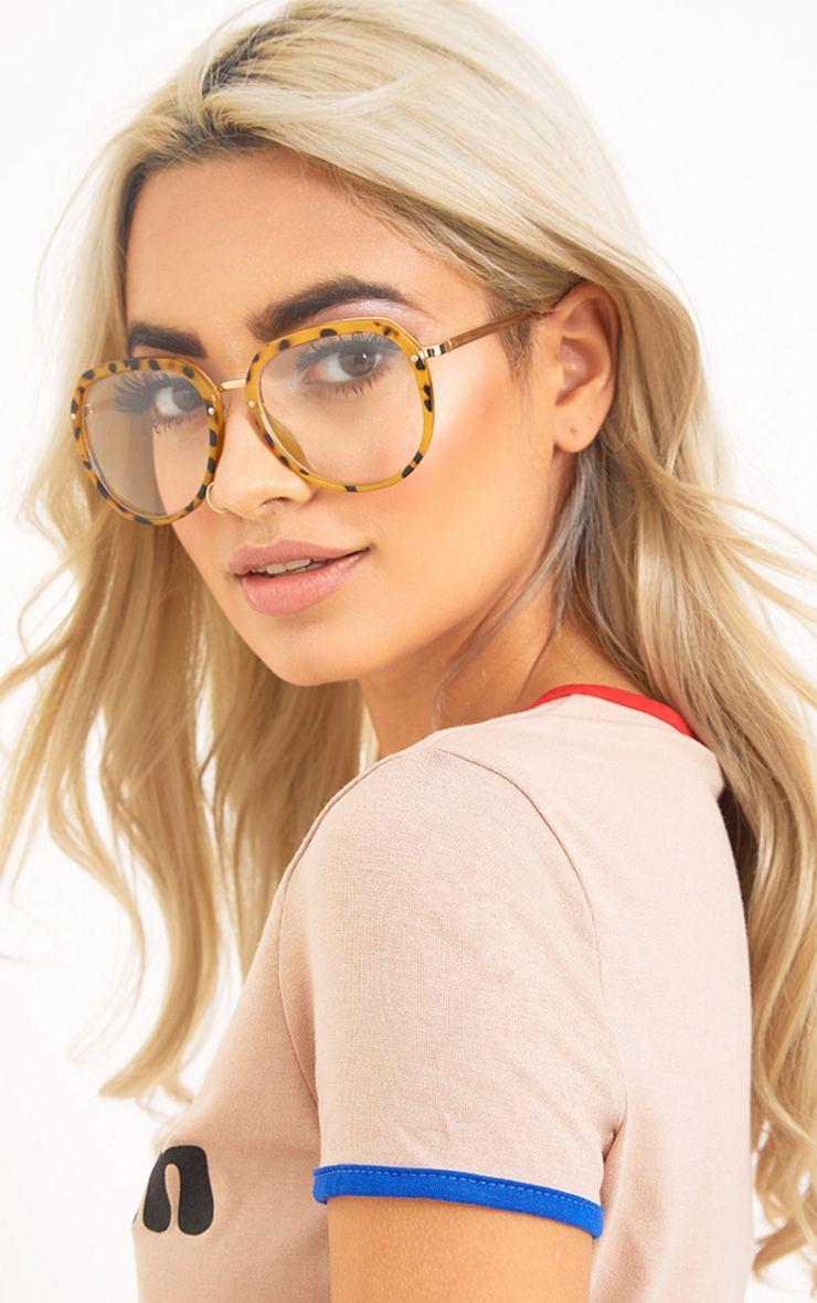 Sorina Leopard Frame Clear Lens Glasses