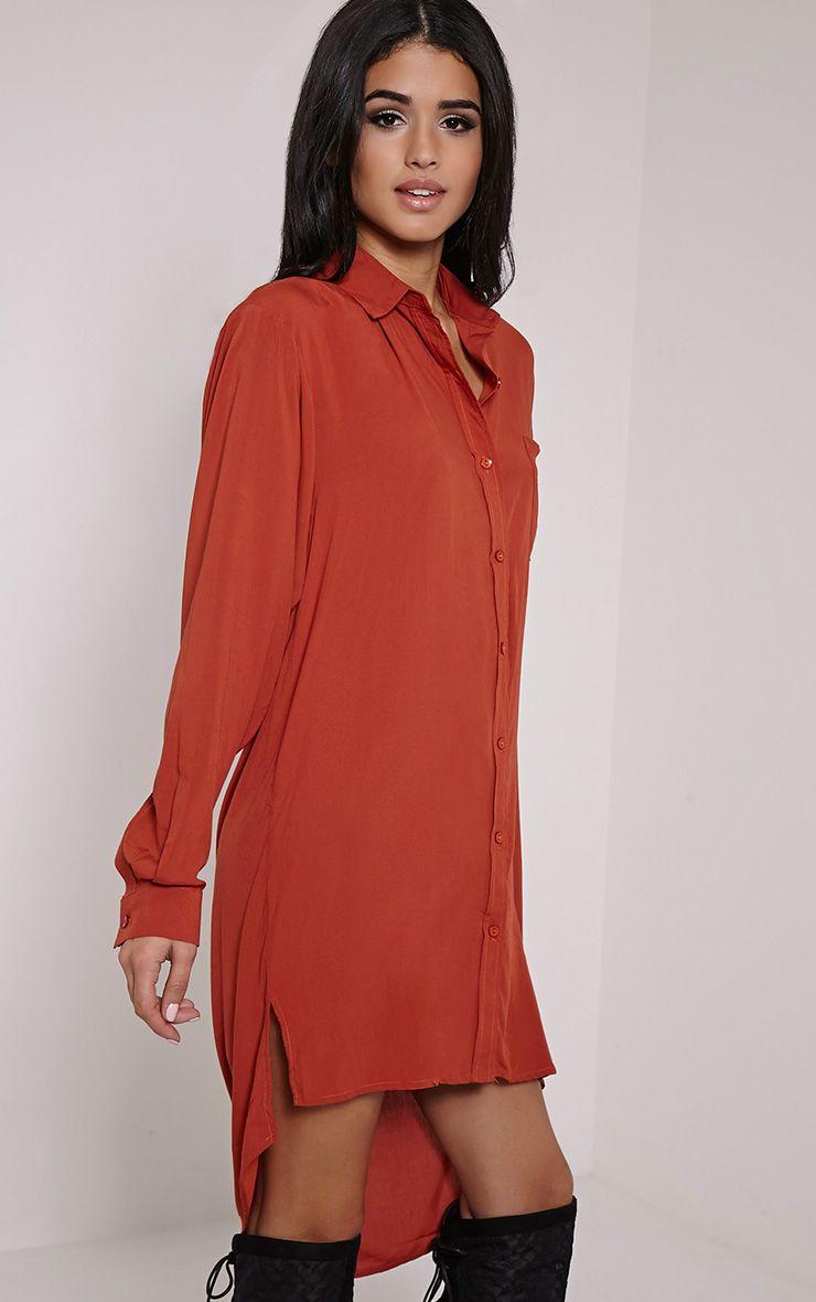 Agape Burnt Orange Shirt Dress 1