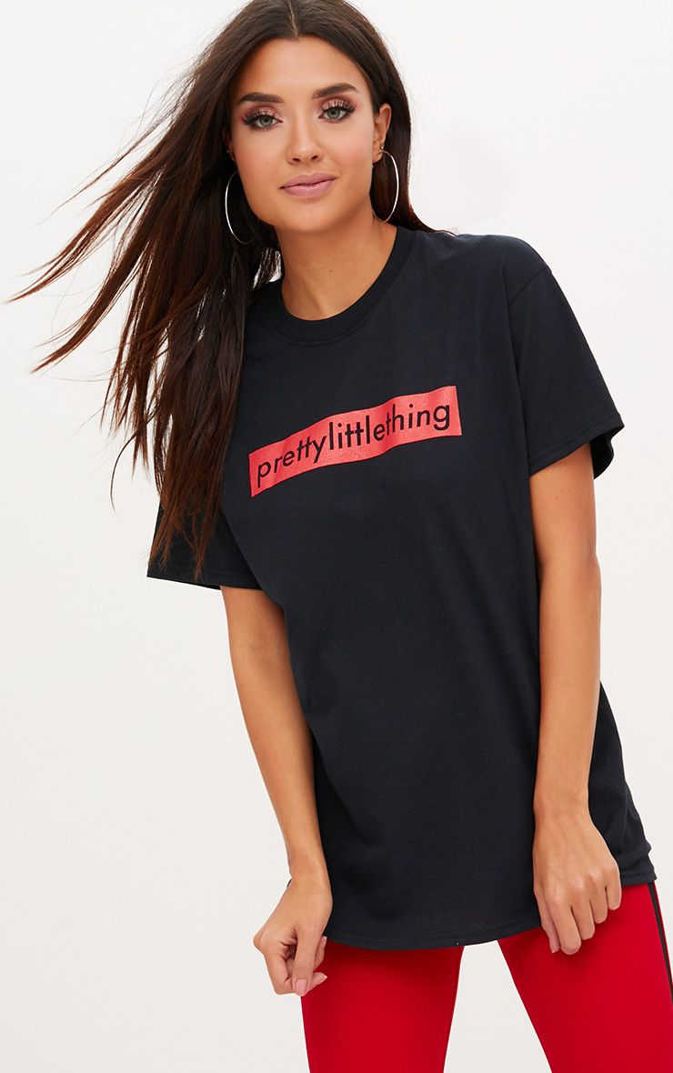PrettyLittleThing Black Slogan Oversized T Shirt