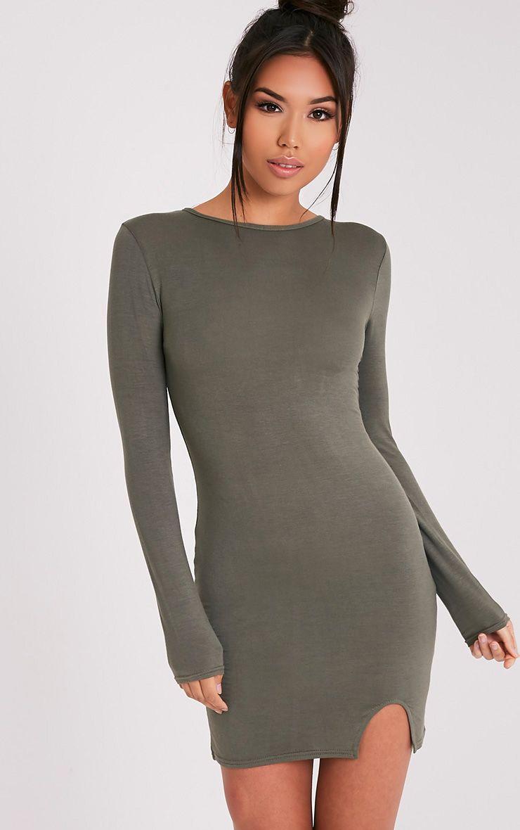 Katiya Khaki Long Sleeve Split Front Bodycon Dress 1