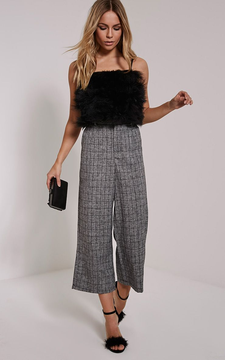 Mia Grey Checked Culottes 1