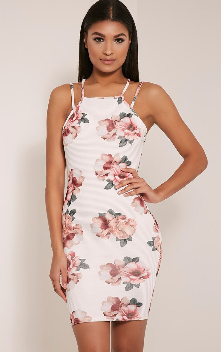 Mason Double Strap Floral Print Ribbed Bodycon Dress 1