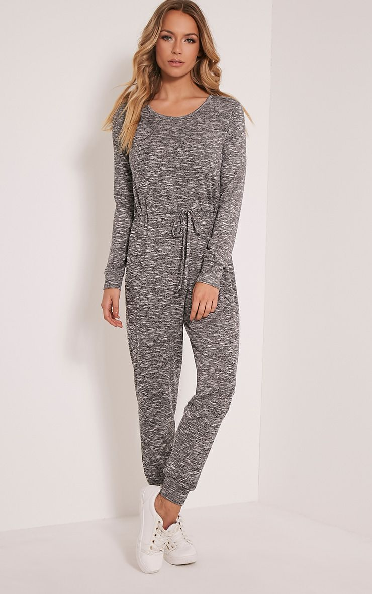 Lottie Grey Long Sleeve Casual Jumpsuit