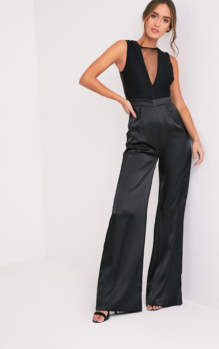 Ria Black Mesh Satin Bottom Jumpsuit