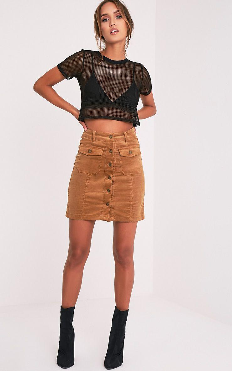 Nahara Camel Button Down Cord Mini Skirt 1
