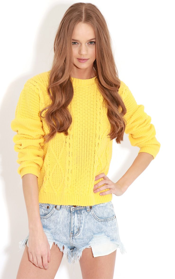 Alina Yellow Cable Knit Jumper Yellow