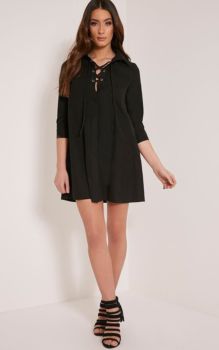 Perrie Black Lace Up Soft Feel Shirt Dress 1