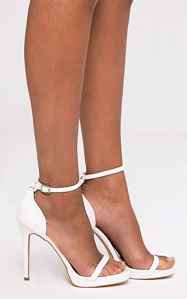 Enna White Single Strap Heeled Sandals 1