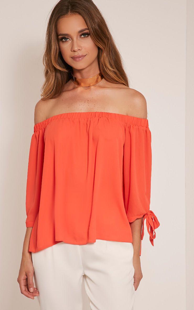 Alysia Orange Bardot Chiffon Top 1