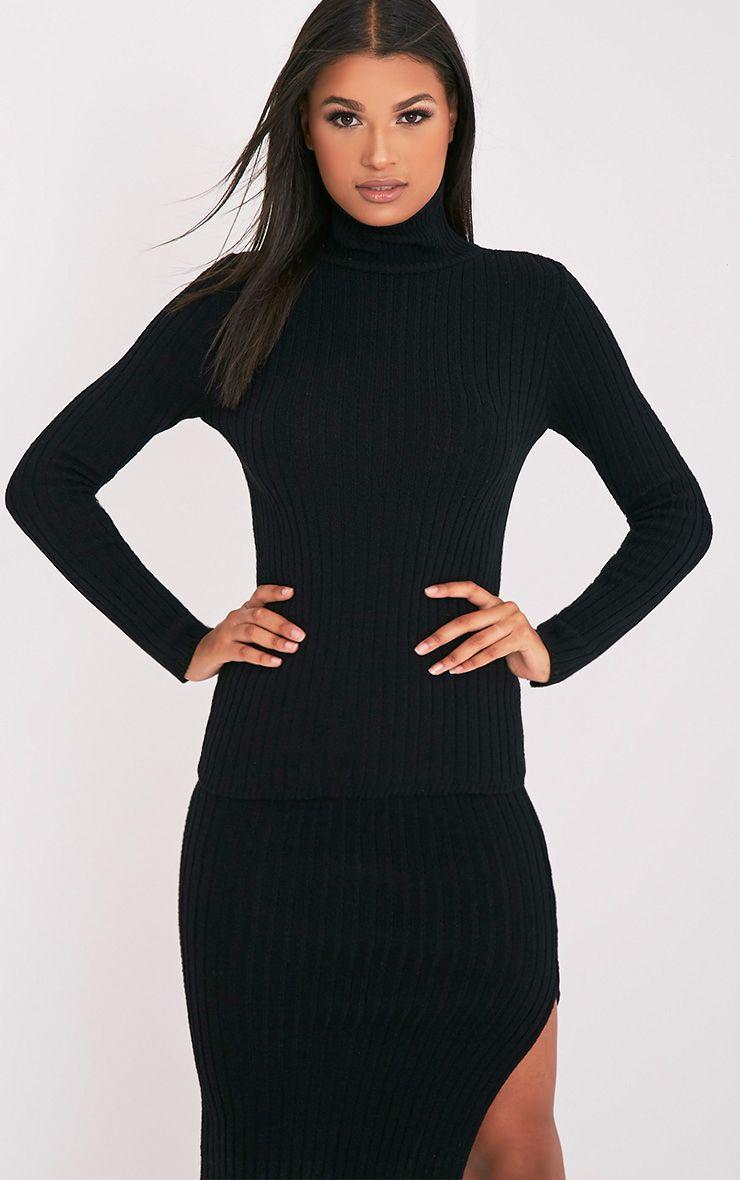 Ulanie pull tricoté côtelé à col roulé noir 1