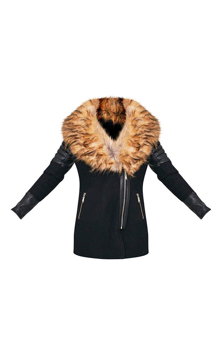 Zilie manteau col en fausse fourrure noir 3