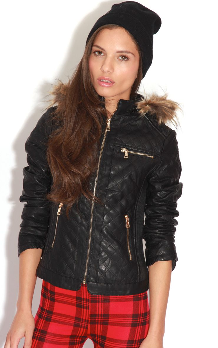 Product photo of Jasmin black quilted pu jacket black