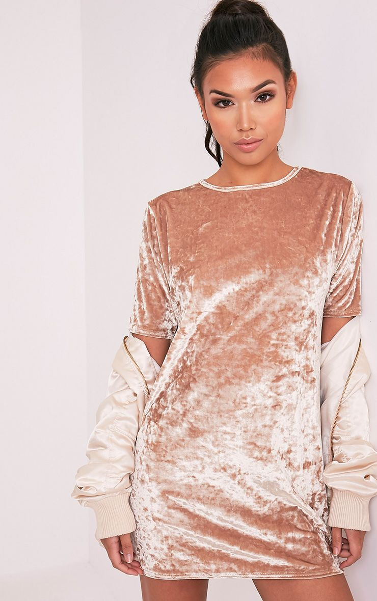 Maylia Champagne Crushed Velvet T Shirt Dress