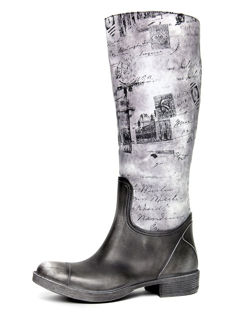 Lindi Black washed out print knee boots 1