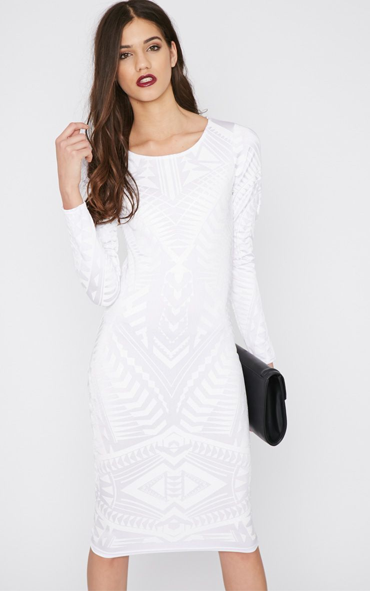 Elodie White Aztec Glitter Print Midi Dress 1