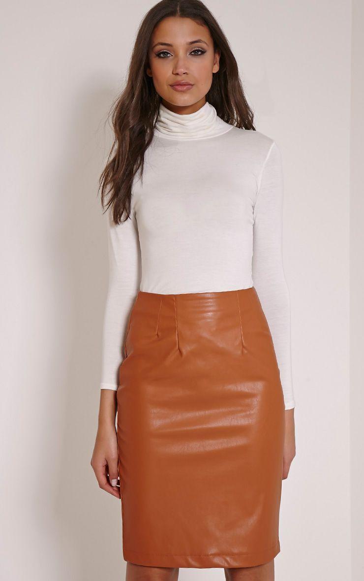 Clarissa Tan Faux Leather Midi Skirt 1