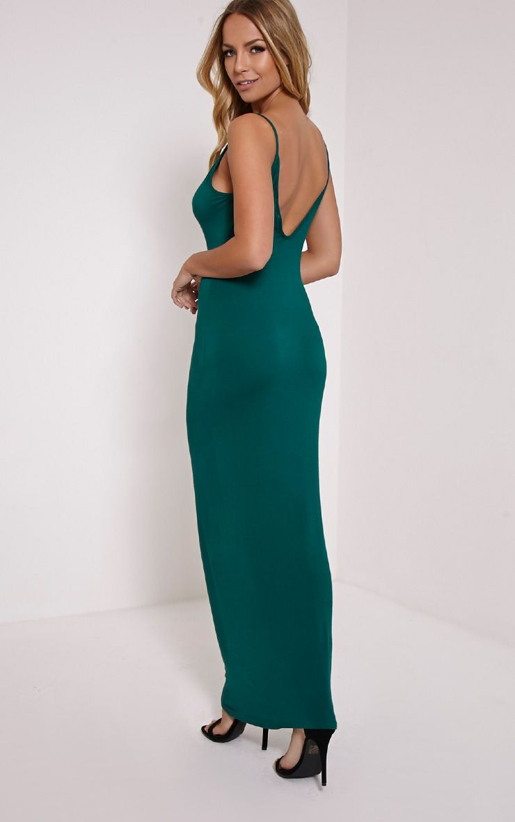 Basic Bottle Green Scoop Back Maxi Dress 1