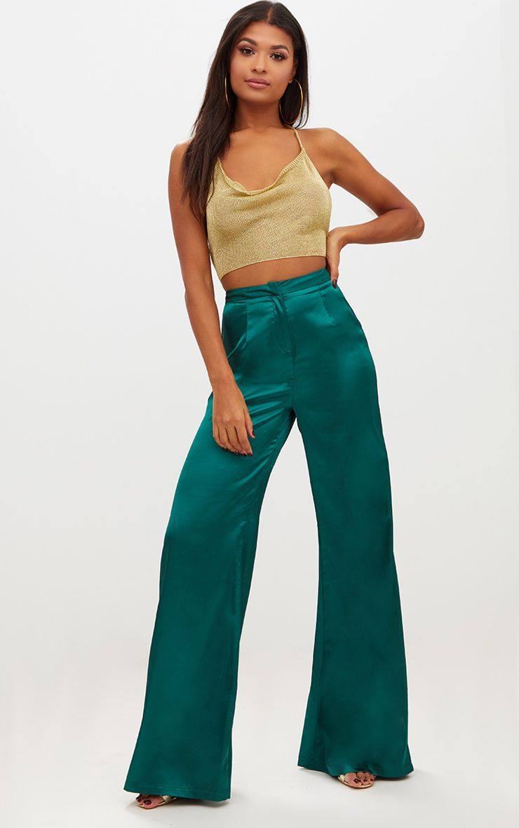 Forest Green Satin Wide Leg Trousers 1