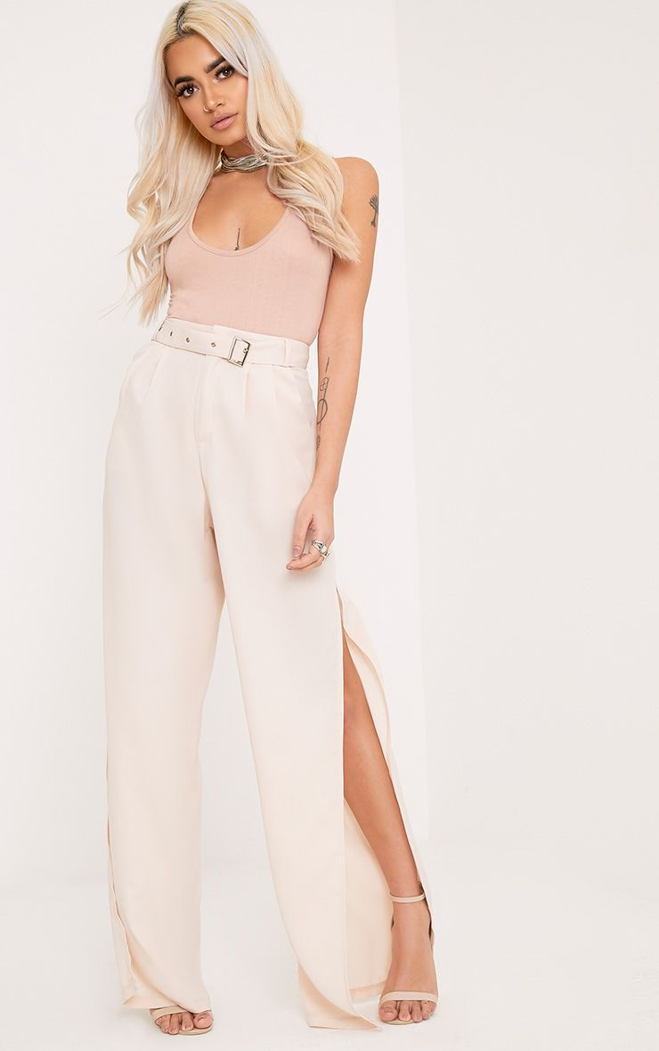 Zaria Nude Belt Side Split Trousers