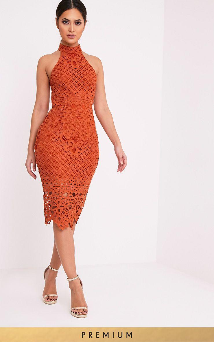 Hanny Tobacco Premium Crochet Midi Dress