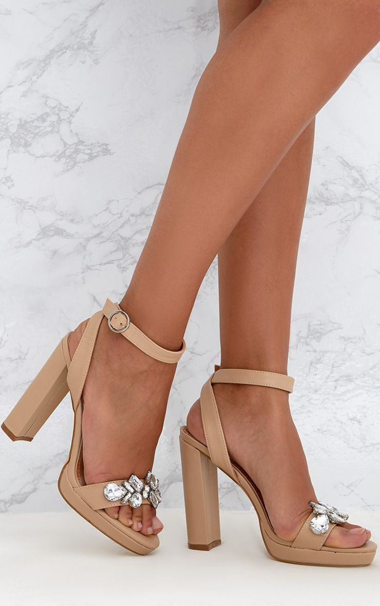 Nude Jewelled Toe Strap Platform Heels