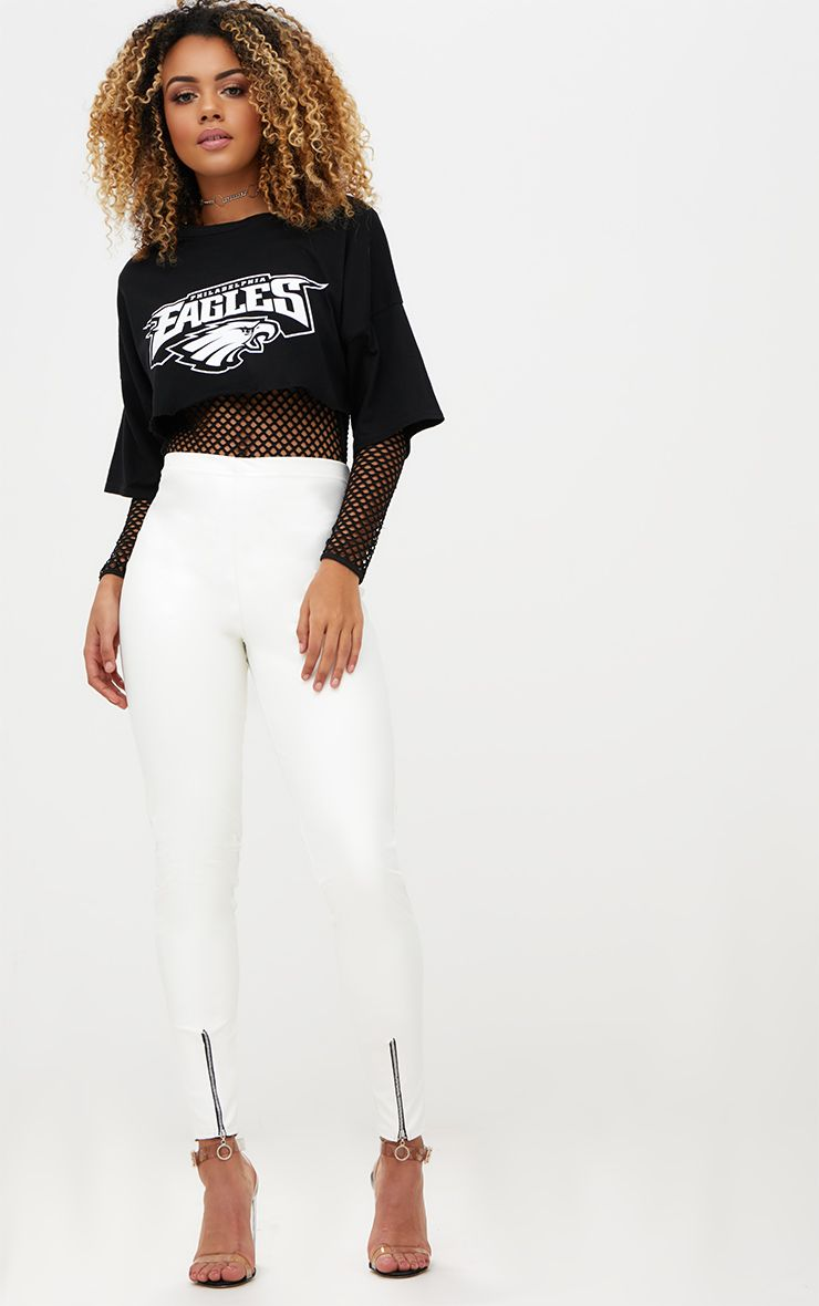 White Faux Leather Zip Front Skinny Trousers