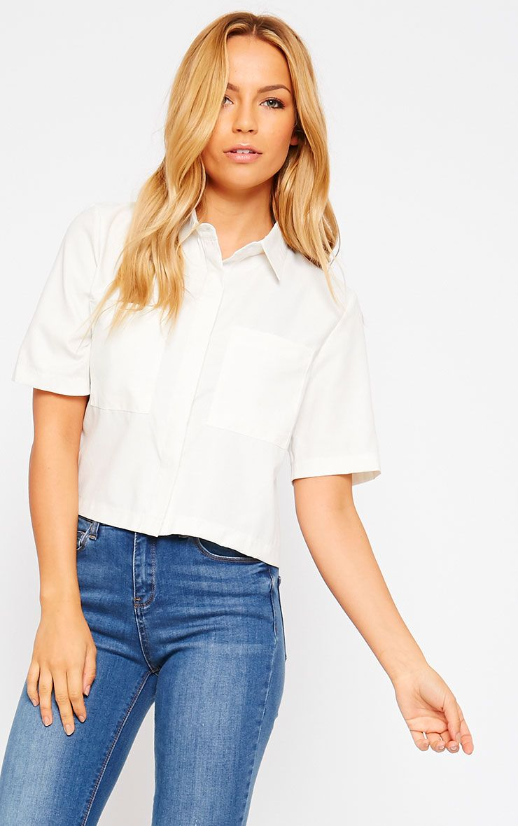 Brona Cream Crop Utility Shirt 1