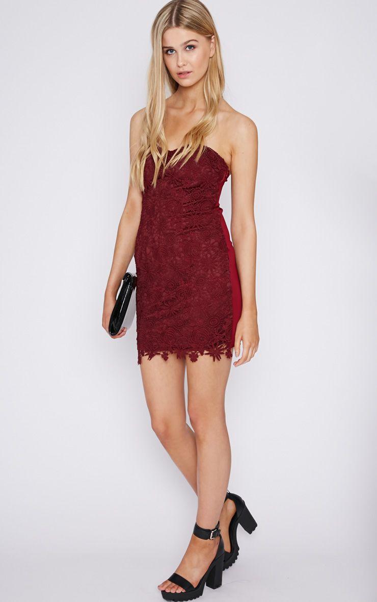 Amina Wine Lace Strapless Mini Dress  1