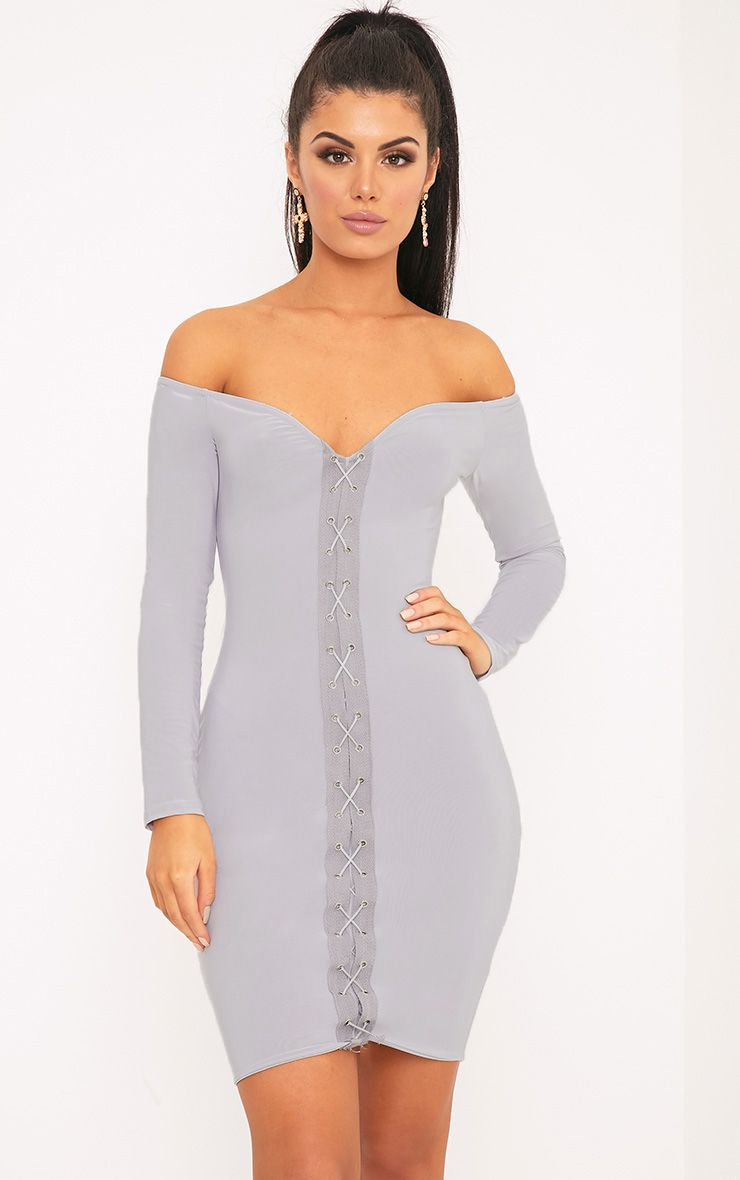 Margot Ice Grey Lace Up Bardot Bodycon Dress