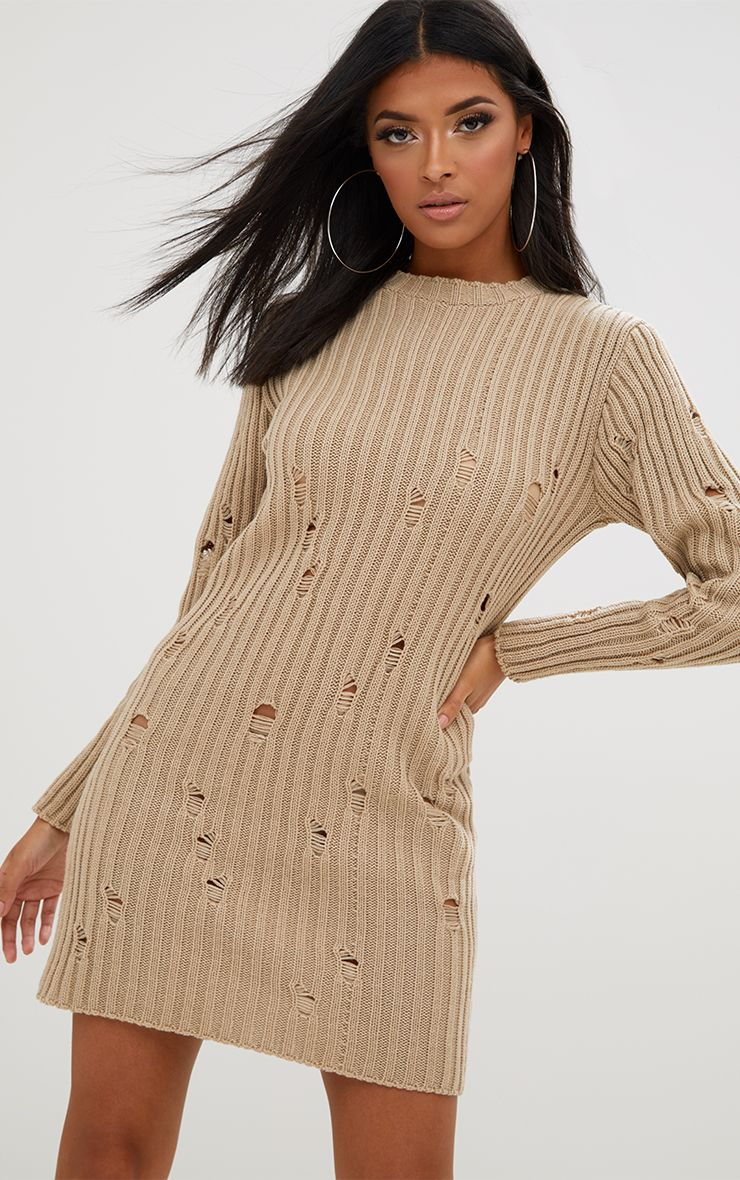 Stone Distressed Jumper Dress
