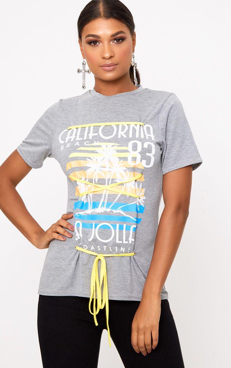 T-shirt gris chiné à slogan imprimé et lacets contrastants