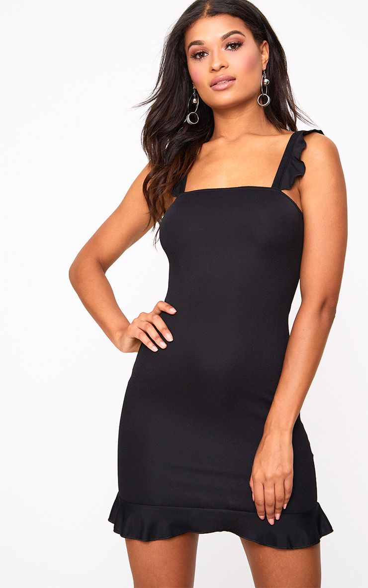 Black Square Neck Frill Strap Bodycon Dress