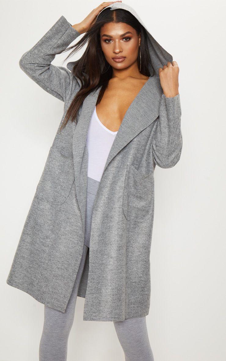 Grey Hooded Oversized Coat