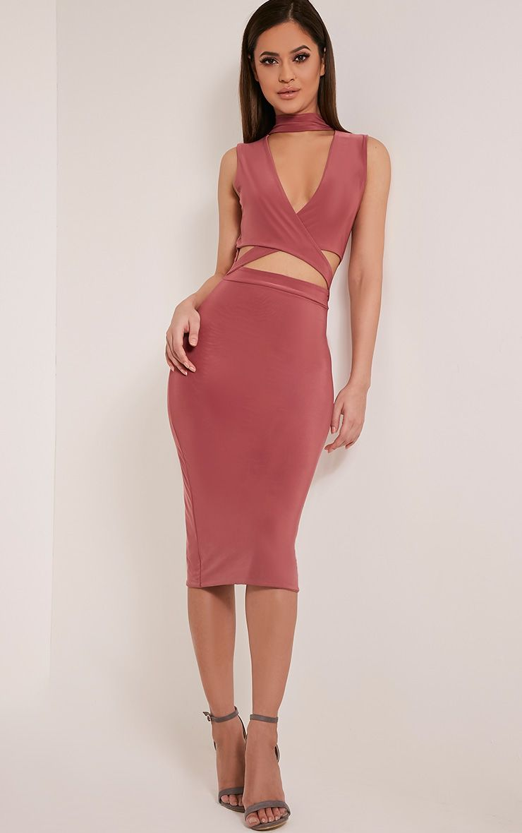 Nadeena Rose Neck Detail Cut Out Sleeveless Midi Dress 1